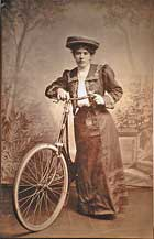 Lady with special leather backed purse for cycling and horse-back riding