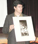 Stephen Bulger showing a print