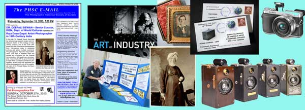 From the left: Our cover of 13-4, Wayne Gilbert at our summer trunk sale, Special show by Tom Bochsler at the coming fall fair, a daguerreotype is discovered, This week's speaker talks about the photographer behind this portrait of an Indian gentleman, the name Kodak is 125 years old, a camera from the net, and a quartet of Ansco Memo half frame cameras from decades ago.