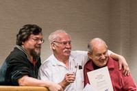 Ed Warner (centre) receives a reward from Past President Clint Hryhorijiw (left) and Membership Secretary Wayne Gilbert