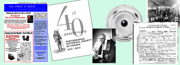 From left: cover of 13-10, 40th anniversary logo, first president John Linsky at 25th anniversary, lens from the net, death of suspicious colour photographer, class plate image from query.