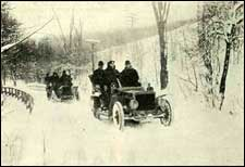 "Flickr has a wealth of images old and new. This image of cars in the winter is from p227 of a 1902 book called ""Western Field"""