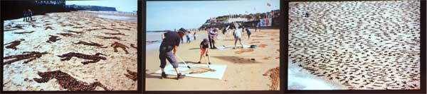Outlines drawn on the Normandy Beach to show the deaths on D-Day