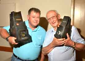Ian and Robert with their Graflex bargains at the auction.