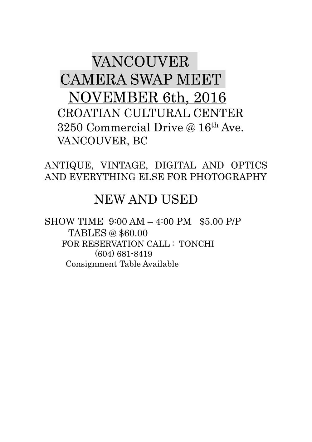 vancouver camera swap meet nov 6 2011