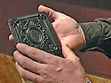 Mike holds a modern union case for a daguerreotype image